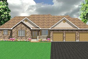 Ranch Exterior - Front Elevation Plan #414-133