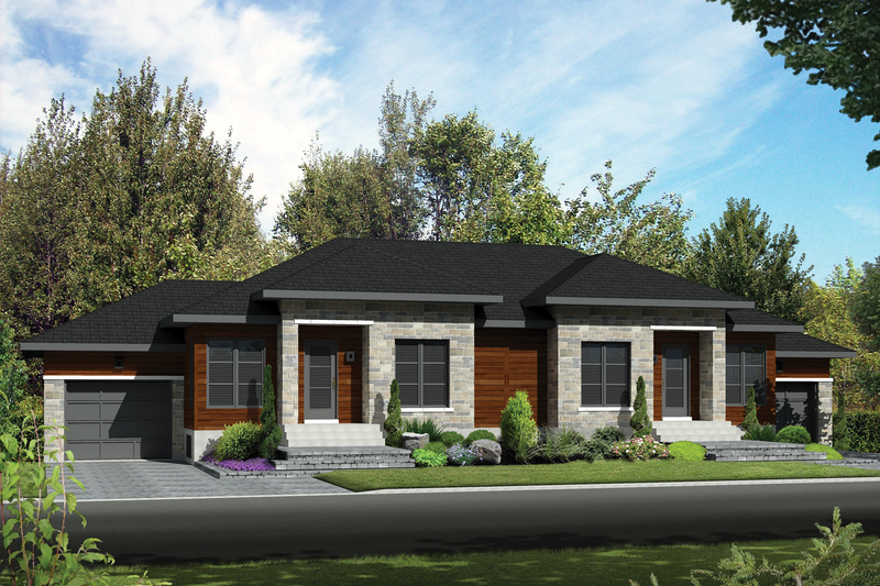 Contemporary Style House Plan - 4 Beds 2 Baths 1840 Sq/Ft Plan #25-4521 Exterior - Front Elevation