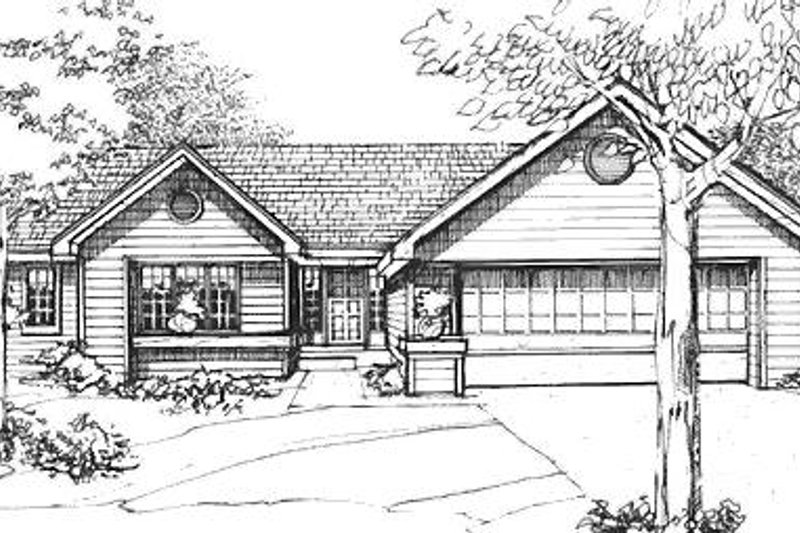 Ranch Exterior - Front Elevation Plan #320-470 - Houseplans.com