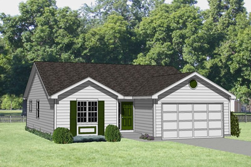 Ranch Style House Plan - 3 Beds 2 Baths 1266 Sq/Ft Plan #116-175 Exterior - Front Elevation