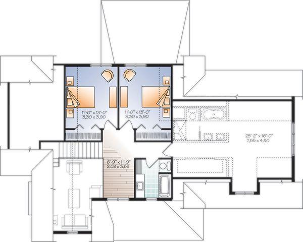 Farmhouse Floor Plan - Upper Floor Plan Plan #23-2732