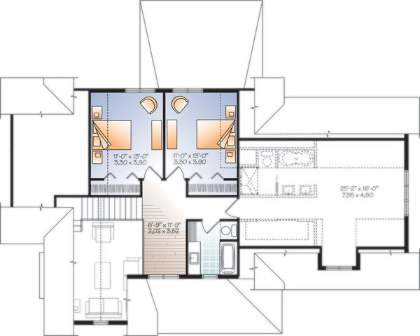 Architectural House Design - Farmhouse Floor Plan - Upper Floor Plan #23-2732