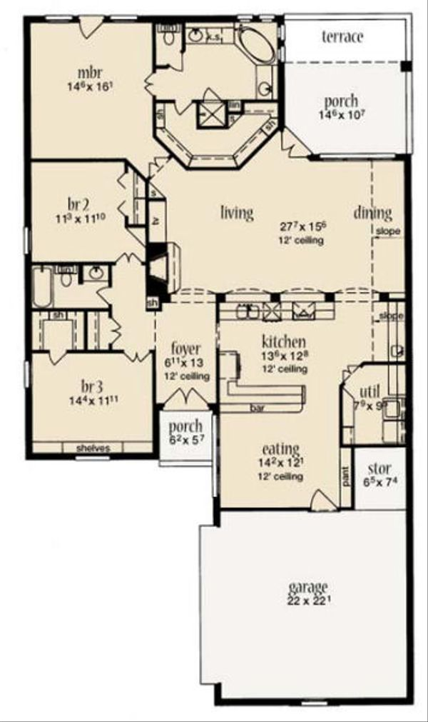 European Floor Plan - Main Floor Plan Plan #36-459