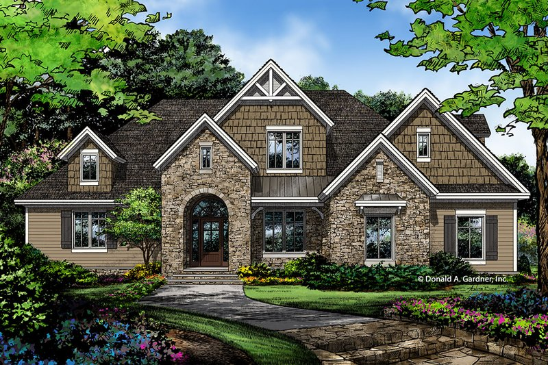 European Style House Plan - 5 Beds 3 Baths 2845 Sq/Ft Plan #929-1022 Exterior - Front Elevation