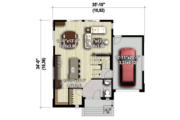 Contemporary Style House Plan - 3 Beds 1 Baths 1724 Sq/Ft Plan #25-4561 Floor Plan - Main Floor Plan