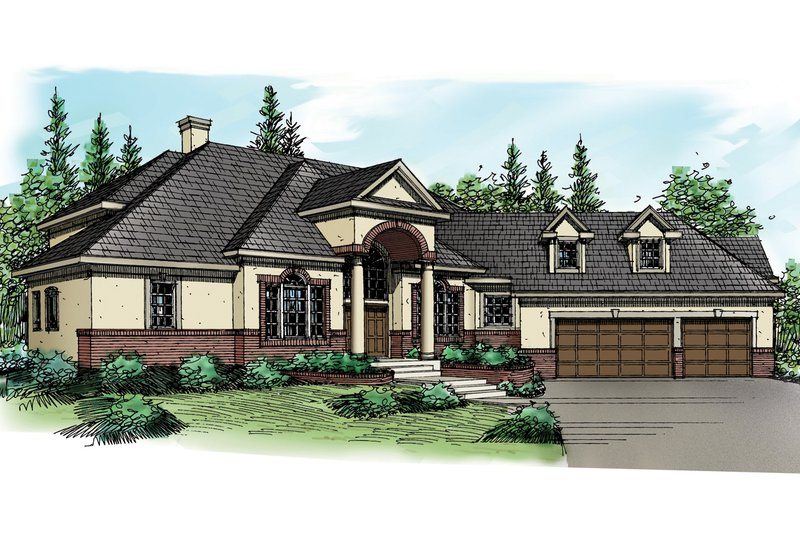 Home Plan - European Exterior - Front Elevation Plan #124-324