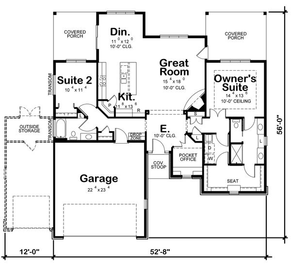 Craftsman Floor Plan - Main Floor Plan Plan #20-2336