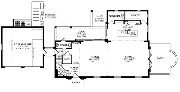 Mediterranean Floor Plan - Main Floor Plan Plan #1058-174