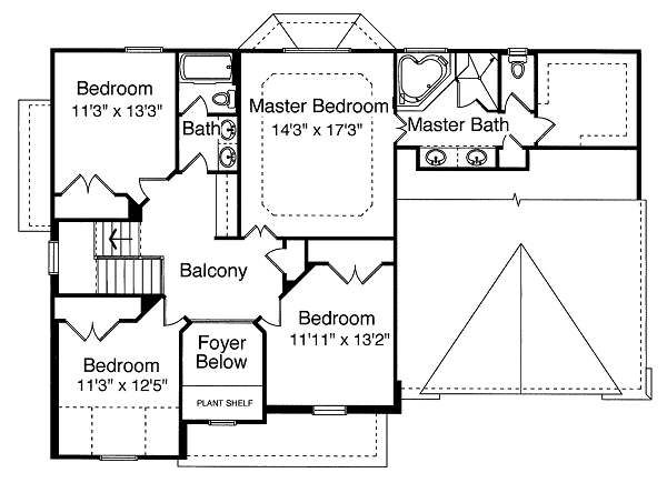 Traditional Floor Plan - Upper Floor Plan Plan #46-396