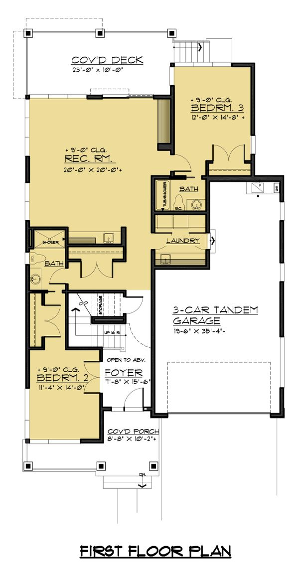 Contemporary Floor Plan - Main Floor Plan Plan #1066-54