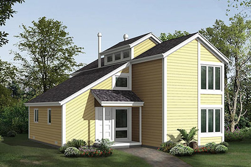 Modern Style House Plan - 3 Beds 2.5 Baths 1836 Sq/Ft Plan #57-477 Exterior - Front Elevation