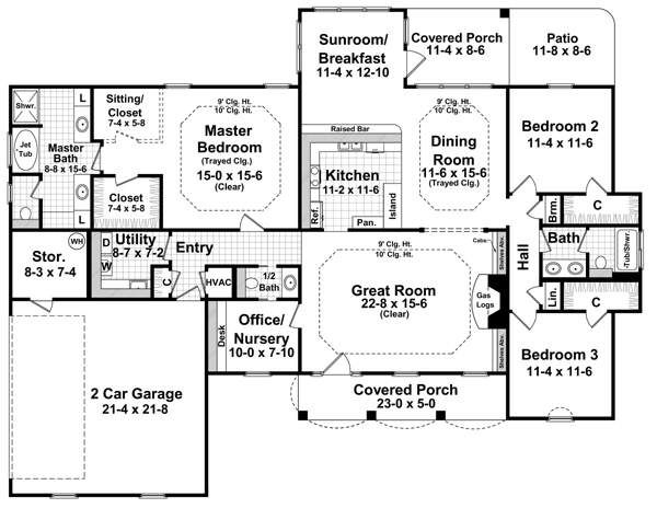 Country Floor Plan - Main Floor Plan Plan #21-226