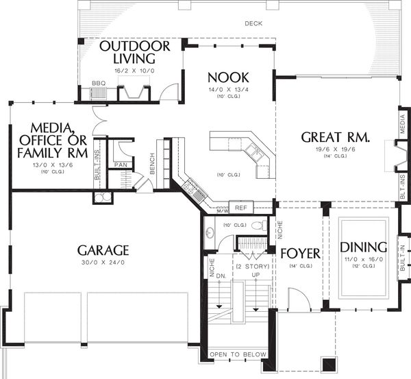 Contemporary house plan main level