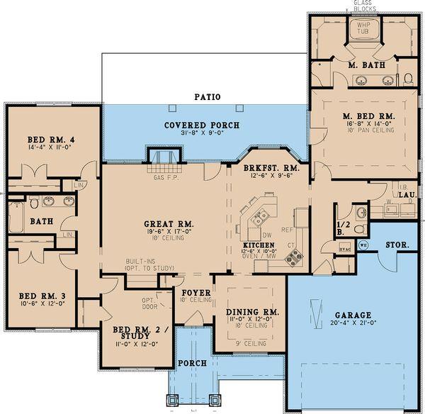Craftsman Floor Plan - Main Floor Plan Plan #923-24