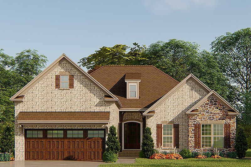 European Style House Plan - 3 Beds 3 Baths 1750 Sq/Ft Plan #923-138 Exterior - Front Elevation