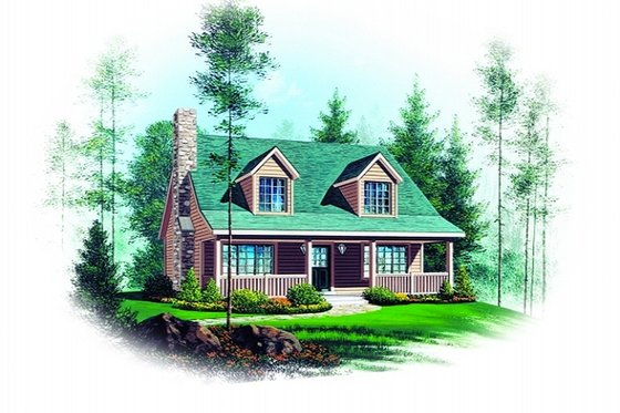 Cottage Exterior - Front Elevation Plan #22-218