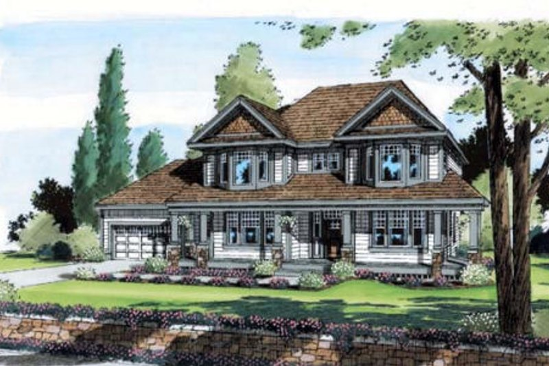 Traditional Style House Plan - 4 Beds 2.5 Baths 2861 Sq/Ft Plan #312-464 Exterior - Front Elevation
