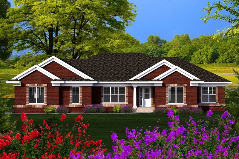 Ranch Exterior - Front Elevation Plan #70-1165