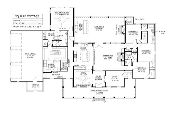 Southern Floor Plan - Main Floor Plan #1074-38