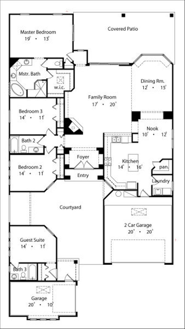 Mediterranean Floor Plan - Main Floor Plan Plan #417-267