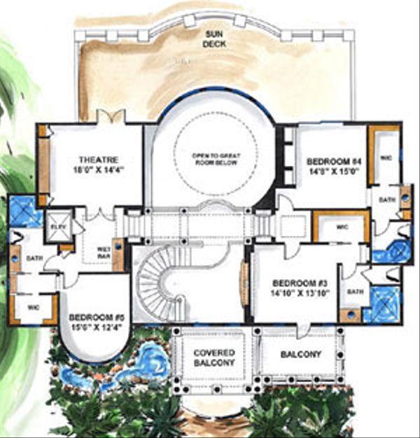 Mediterranean Floor Plan - Upper Floor Plan Plan #27-275