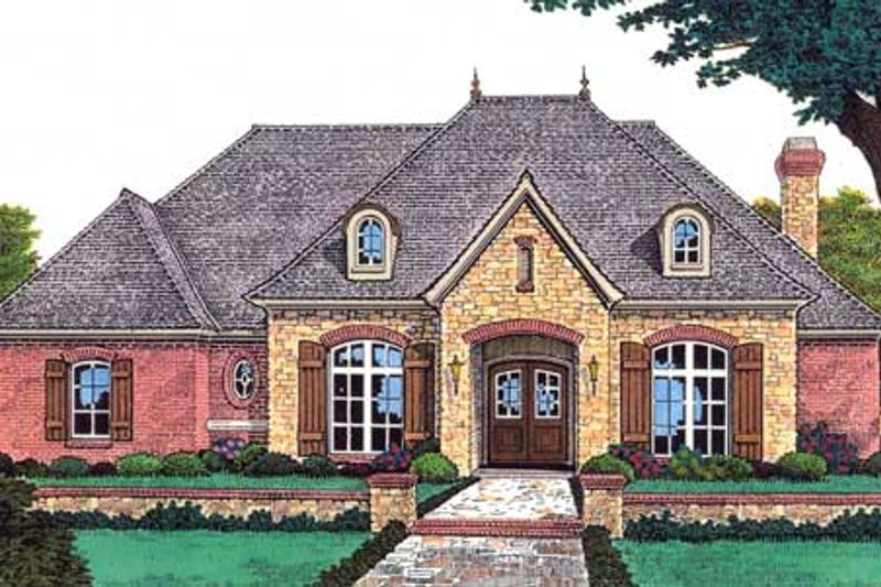 European Style House Plan - 4 Beds 3.5 Baths 2946 Sq/Ft Plan #310-632 Exterior - Front Elevation