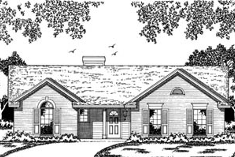 Traditional Style House Plan - 3 Beds 2 Baths 1366 Sq/Ft Plan #42-106 Exterior - Front Elevation