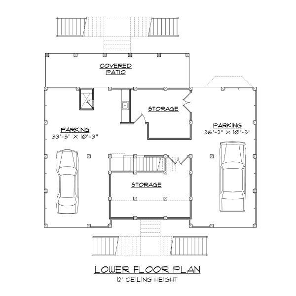 Beach Floor Plan - Lower Floor Plan Plan #1054-68