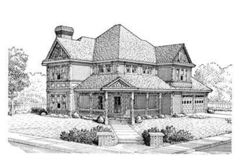 Victorian Exterior - Front Elevation Plan #410-191