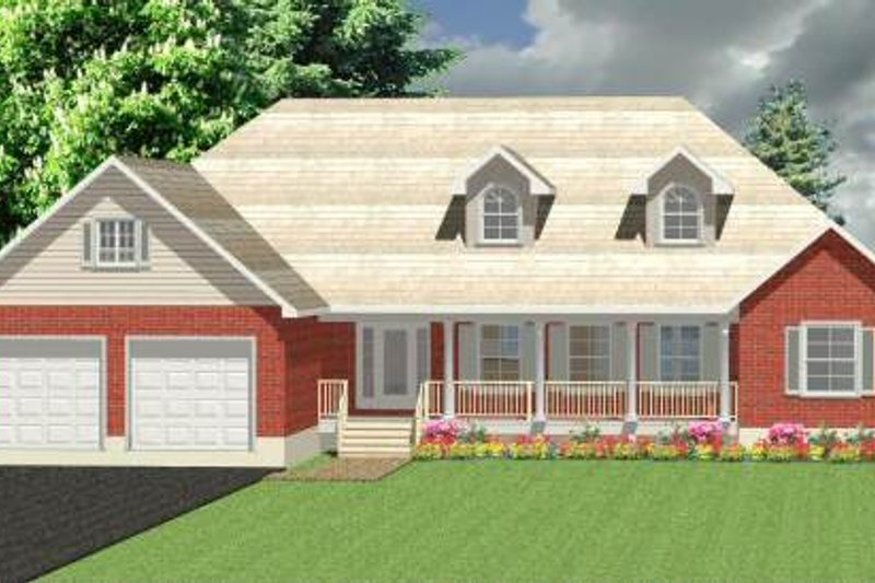 Farmhouse Style House Plan - 3 Beds 2.5 Baths 2056 Sq/Ft Plan #414-113 Exterior - Front Elevation