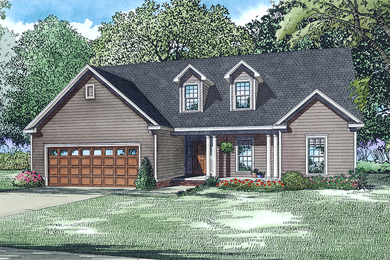 Country Style House Plan - 3 Beds 2.5 Baths 1791 Sq/Ft Plan #17-2550 Exterior - Front Elevation