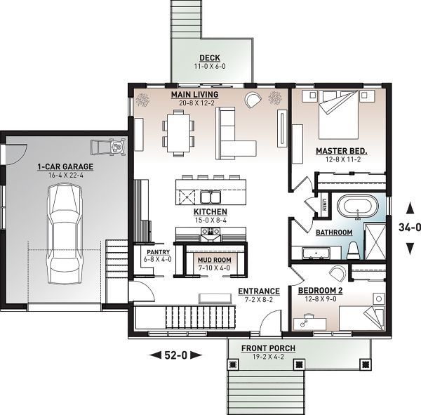 Craftsman Floor Plan - Main Floor Plan Plan #23-2728