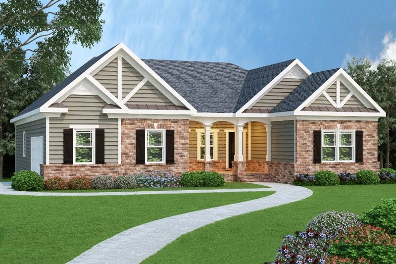 Craftsman Exterior - Front Elevation Plan #419-114