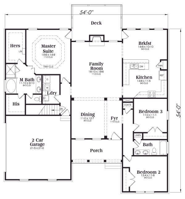 Traditional Floor Plan - Main Floor Plan Plan #419-144