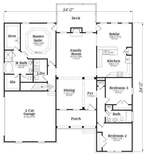 Traditional Floor Plan - Main Floor Plan Plan #419-144