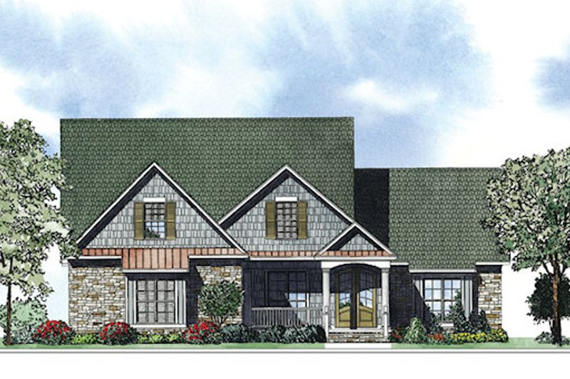 European Exterior - Front Elevation Plan #17-2414