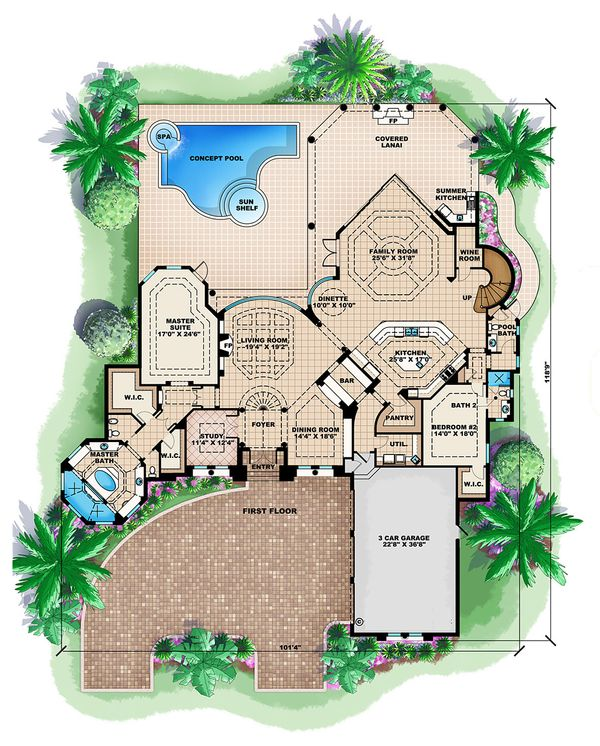 Mediterranean Floor Plan - Main Floor Plan Plan #27-391