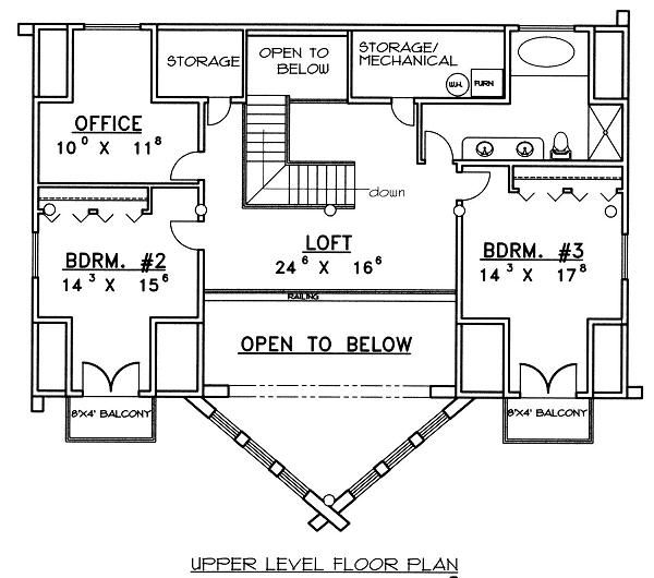 Log Floor Plan - Upper Floor Plan Plan #117-507