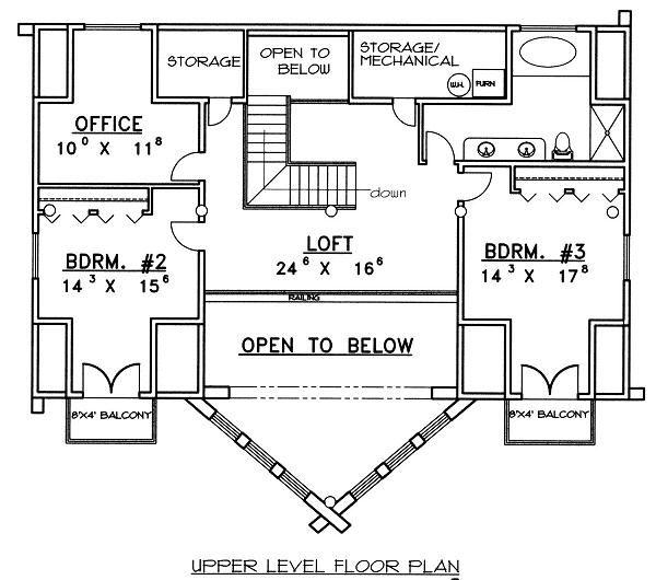 Log Floor Plan - Upper Floor Plan #117-507