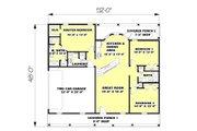 Ranch Style House Plan - 3 Beds 2 Baths 1500 Sq/Ft Plan #44-134 Floor Plan - Main Floor