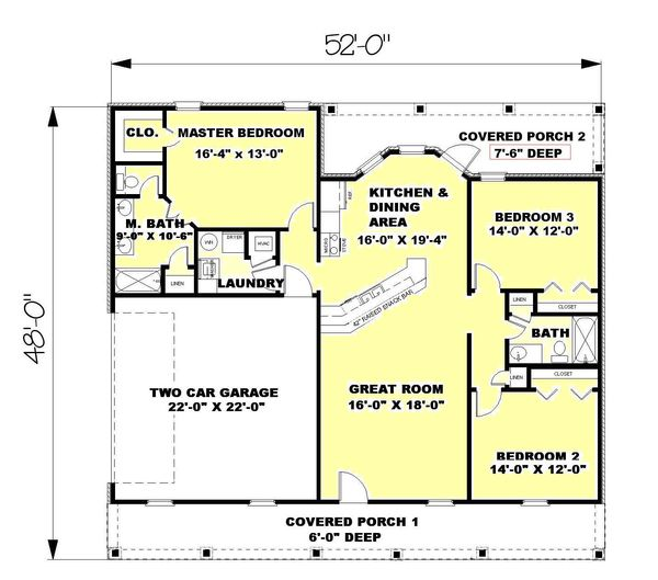 Ranch Style House Plan - 3 Beds 2 Baths 1500 Sq/Ft Plan #44-134 on 30 x 40 sq ft. house plan, 1800 sq ft ranch home plan, 1600 sq ft ranch home plan, hawaii cottage floor plan,