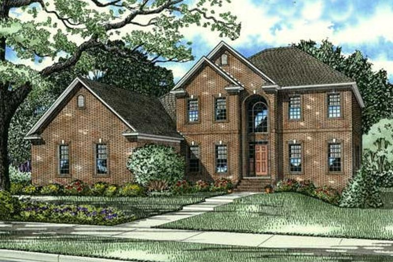 European Style House Plan - 5 Beds 3.5 Baths 3643 Sq/Ft Plan #17-2271 Exterior - Front Elevation