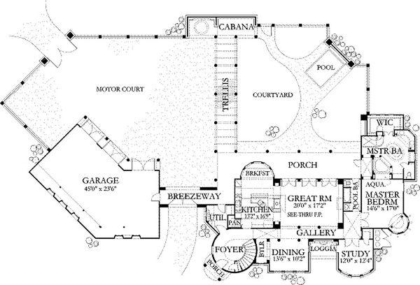 Dream House Plan - Mediterranean Floor Plan - Main Floor Plan #80-193