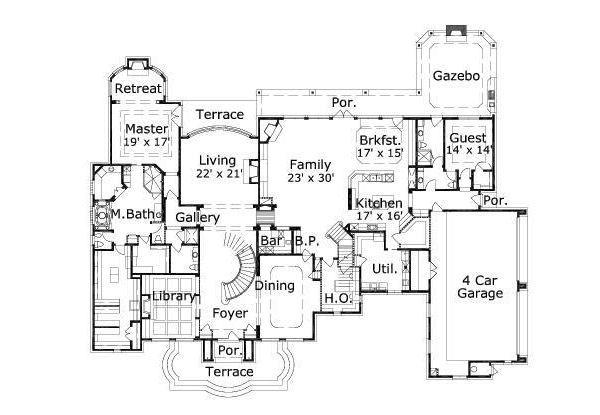 European Floor Plan - Main Floor Plan #411-408