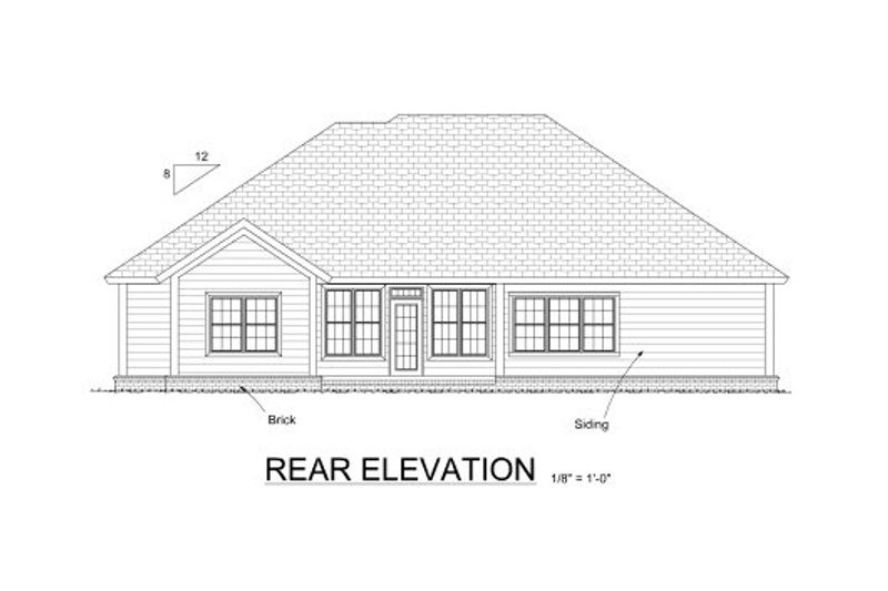 Traditional Exterior - Rear Elevation Plan #513-18 - Houseplans.com