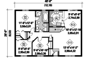 Ranch Style House Plan - 3 Beds 1 Baths 1120 Sq/Ft Plan #25-4422 Floor Plan - Main Floor