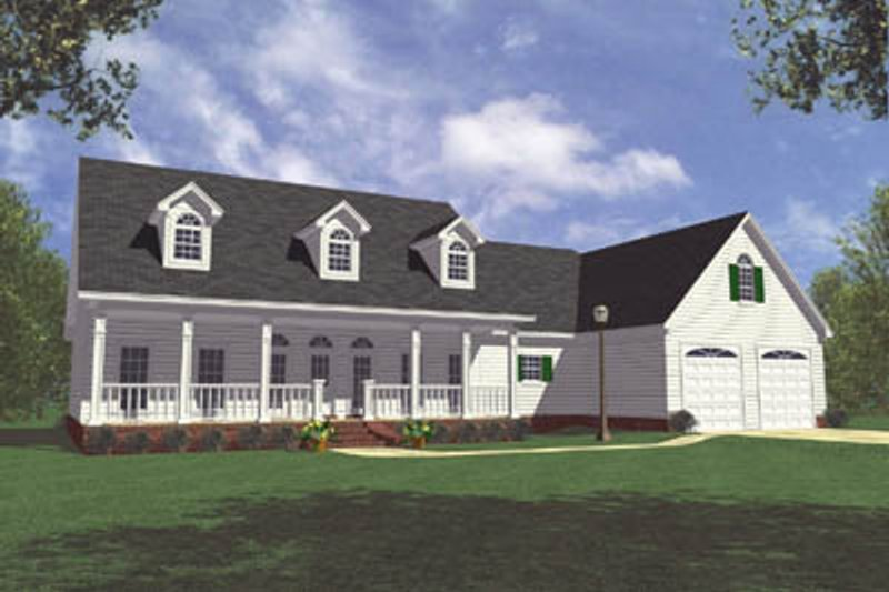 Country Style House Plan - 3 Beds 3 Baths 2100 Sq/Ft Plan #21-111 Exterior - Front Elevation