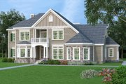 European Style House Plan - 4 Beds 4 Baths 2872 Sq/Ft Plan #419-307 Exterior - Front Elevation