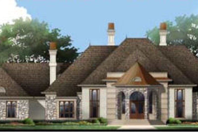 European Style House Plan - 4 Beds 4 Baths 5082 Sq/Ft Plan #119-196 Exterior - Front Elevation
