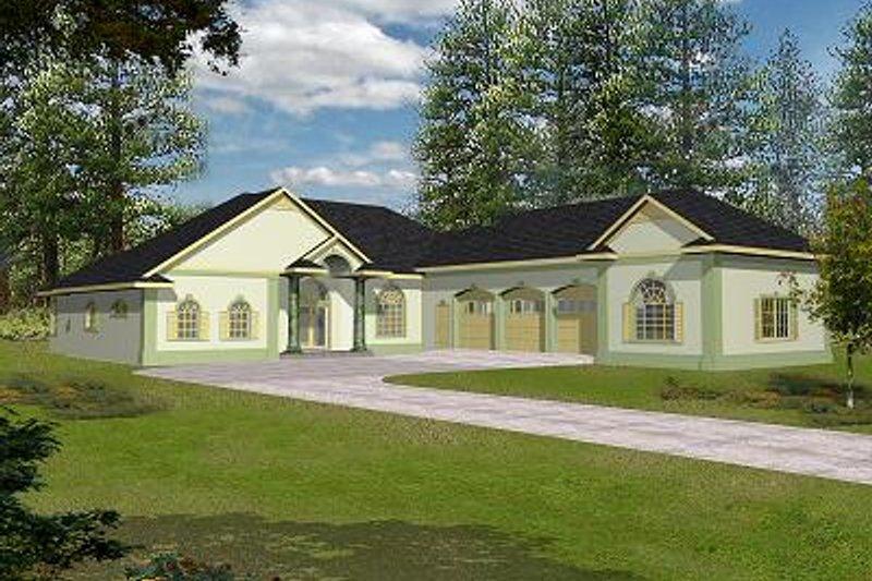 Dream House Plan - Mediterranean Exterior - Front Elevation Plan #117-523